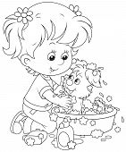 picture of wash-basin  - Little girl washes a small pup in a basin with lather - JPG