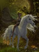 stock photo of fairyland  - A fairy rides a wild white unicorn through the magical forest - JPG