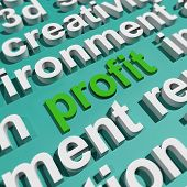Profit In Word Cloud Shows Profitable Incomes And Earnings