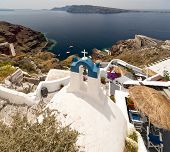 Santorini View With Church