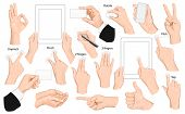 Big set of hands and gestures. Vector illustration.