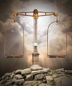 foto of light weight  - Weight scale on the peak against heaven - JPG