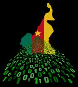 Cameroon map flag with binary foreground illustration