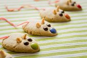 picture of field mouse  - Cookies with mouse shaped and red licorice tail over green striped tablecloth