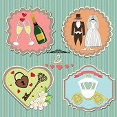picture of wedding feast  - A set of labels with the wedding items for wedding invitationssitagita template in retro style - JPG