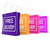 Free Delivery Shopping Bags Showing No Charge Or Gratis To Deliver