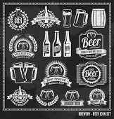 Beer icon chalkboard set - labels, posters, signs, banners, vector design symbols. Removable backgro