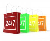Twenty Four Seven Shopping Bags Shows Open 24/7