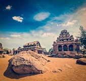 stock photo of tamil  - Vintage retro hipster style travel image of Five Rathas  - JPG