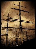 Instagram style image of an old wooden sailing ship