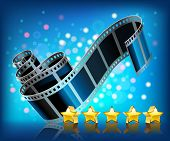 Film and stars on blue background.