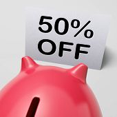 Fifty Percent Off Piggy Bank Shows 50 Half-price Promotion
