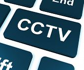 Cctv Key Shows Camera Monitoring Or Online Surveillance