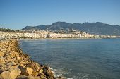 stock photo of costa blanca  - Hilltop whitewashed village of Altea one of Costa Blanca landmarks - JPG
