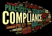 picture of financial audit  - Compliance and audit in word tag cloud on black - JPG