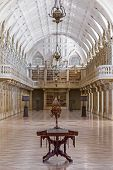 Mafra, Portugal - September 02, 2013: Library of the Mafra National Palace. Franciscan religious ord