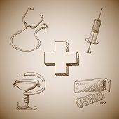 Collection of medical symbols