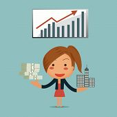 Business Woman Showing Her Passive Income From Asset Infront Of Graph Background