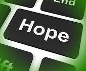 Hope Key Shows Hoping Hopeful Wishing Or Wishful