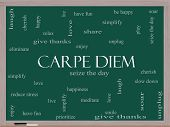 Carpe Diem Word Cloud Concept On A Blackboard
