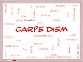 Carpe Diem Word Cloud Concept On A Whiteboard