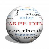 Carpe Diem 3D Sphere Word Cloud Concept