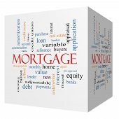 foto of amortization  - Mortgage 3D cube Word Cloud Concept with great terms such as loan home banker and more - JPG