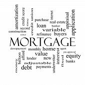 Mortgage Word Cloud Concept In Black And White
