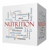 image of fat cell  - Nutrition 3D cube Word Cloud Concept with great terms such as human body diet and more - JPG