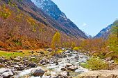 foto of italian alps  - Mountain Stream in the Italian Alps Piedmont - JPG