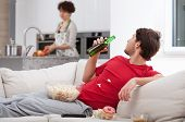 Couch Potato Doesn't Help Wife