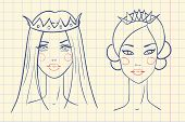 Princess. Sketches style in notebook. Vector illustration
