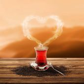 Turkish tea and enjoy the sunset (clipping path)