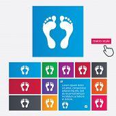 Human footprint sign icon. Barefoot symbol.