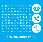 100 communication, connection, network icons set, vector
