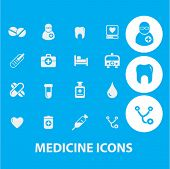 medicine icons set, vector