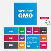 No GMO sign. Without Genetically modified food.