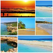 a collage of some pictures of different beaches of Spain, such as beaches of Canary Islands and Bale