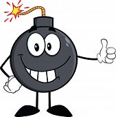 Smiling Bomb Cartoon Character Showing Thumbs Up
