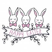 stock photo of centerpiece  - White rabbits in row Happy Easter spring Easter holiday centerpiece illustration isolated on white background