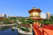 HONG KONG ISLAND, CHINA - JANUARY 1 : Nan Lian Golden Pavilion of Absolute Perfection at Nan Lian Ga