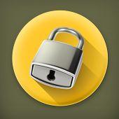 Metal lock, long shadow vector icon