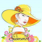 Summer fashion girl in yellow hat
