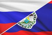 Series Of Ruffled Flags. Russia And Belize.