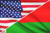 Series Of Ruffled Flags. Usa And Belarus.