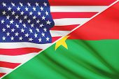 Series Of Ruffled Flags. Usa And Burkina Faso.