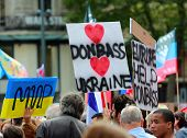 Protest Manifestation Against War In Ukraine On Republic Square Of Paris