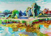 marker painting of landscape