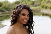 Outdoor Bare Shoulder Portrait Beautiful Mixed Teen