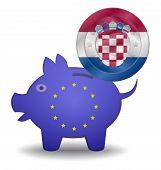Piggy Bank And Euro European Croatia